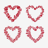 Set of vector floral frames in the shape of heart — Stock Vector