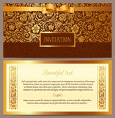 Set of vector vintage luxury horizontal invitation — Stock Vector
