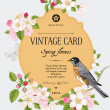 Spring floral vector vintage card — Stock Vector
