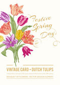 Vintage vector spring greeting card — Stock Vector