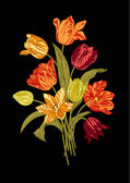 Bukiet z dziewięciu żywe tulipany na czarnym tle. — Wektor stockowy