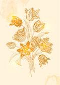 Vintage vector bouquet of nine tulips — Stock Vector