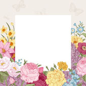 Summer floral vintage vector background. — Stock Vector