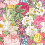 Seamless vector vintage pattern with garden colorful flowers — Stockvector