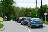 Cars on level crossing — Stockfoto