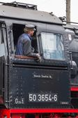 Editorial use only. Maintenance on a historic steam train. — Stock Photo