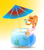 Goldfish on holiday — Stock Vector