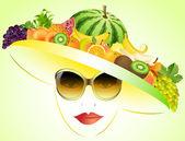 Girl  and summer fruits — Vector de stock