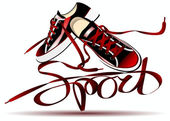 Beautiful pair of red sneakers — Wektor stockowy