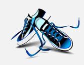 Schöne blaue Paar Turnschuhe — Stockvektor