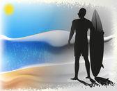 Серфер и море — Cтоковый вектор