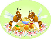 Two funny bees — Vettoriale Stock