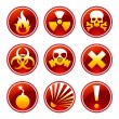 Stock Vector: Round warning icons