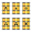 Yellow metallic barrels with warning signs — Stock Vector #38229685
