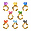 Gold rings with colorful diamonds — Stock Vector
