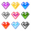 Colorful heart diamonds — Stock Vector
