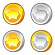 Stock Vector: Coins with piggy bank sign