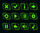LED green buttons for game — Stock Vector