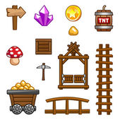 Gold mine assets. — Stock Vector