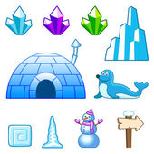 Ice world assets — Stock Vector