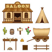 Wild West assets — Stock Vector