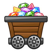 Mine cart with Diamonds — Stock Vector
