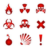 Red warning icons — Stock Vector