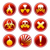 Round warning icons — Stock Vector