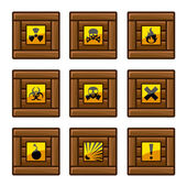 Wooden crates with danger signs — Stock Vector