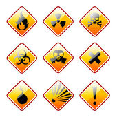 Orange warning signs — Stock Vector