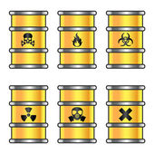 Yellow metallic barrels with warning signs — Stock Vector