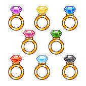 Anéis de ouro com diamantes coloridos — Vetor de Stock