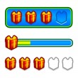 Stock Vector: Progress bar with gift boxes