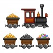 Stock Vector: Train with mine tubs
