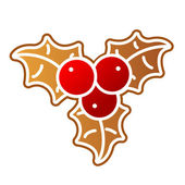 Gingerbread Holly Berry — Stock Vector