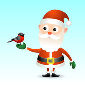 Santa Claus with bullfinch — Stock Vector