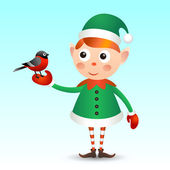 Elf with bullfinch — Stock Vector