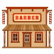 Stock Vector: Wild West barber shop