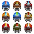 Football helmet set — Stock Vector