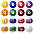 Billiard ball set — Stock Vector