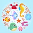 Sea creatures background 2 — Stock Vector