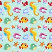 Sea creatures background — Stock Vector