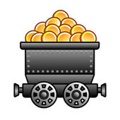 Iron mine cart with coins — Stock Vector