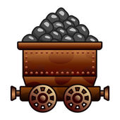 Old mine cart with coil — Stock Vector