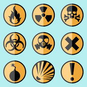 Flat warning signs labels — Stock Vector