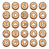 Wooden, round video game buttons — Stock Vector