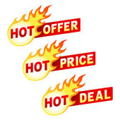Hot offer, price and deal flame sticker badges — Stock Vector