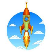 Vintage, old rocket on a sky background — Stock Vector