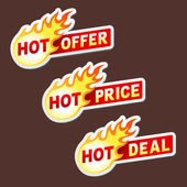 Hot offer, price and deal flame vector sticker badges — Stock Vector