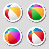 Strandbal stickers set — Stockvector